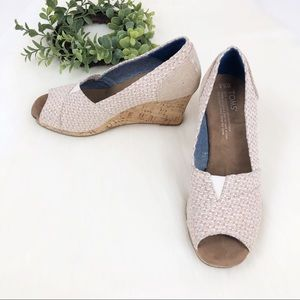 Toms Shoes - TOMS l Tan Cream Peep Toe Cork Wedge Heel 6.5